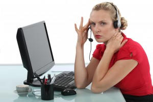 Stressed call-center worker